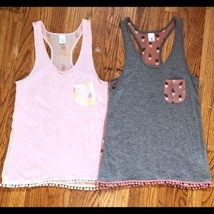 Lot of 2 empyre Racerback Pattern tank tops-xs